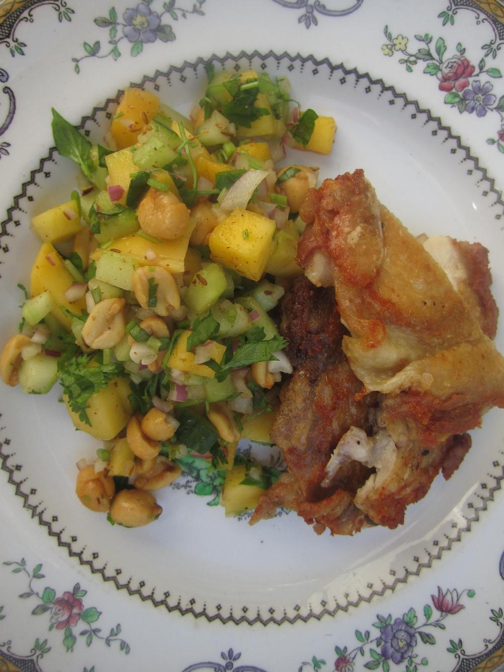 Peanut + Mango Masala Chaat with Brick Chicken