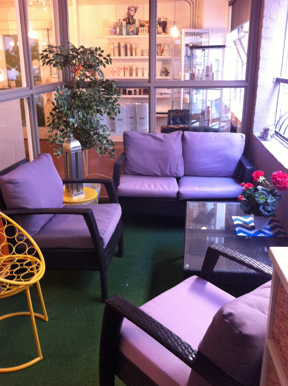 The gorgeous balcony space our clients use while waiting..
