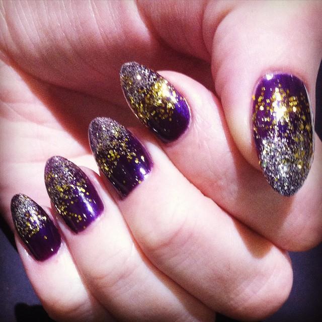 Sculptured acrylic nailsw gel polish nail art