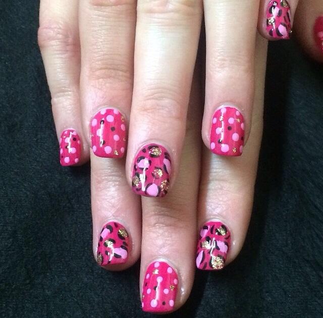 Acrylic refill with nail polish nail art