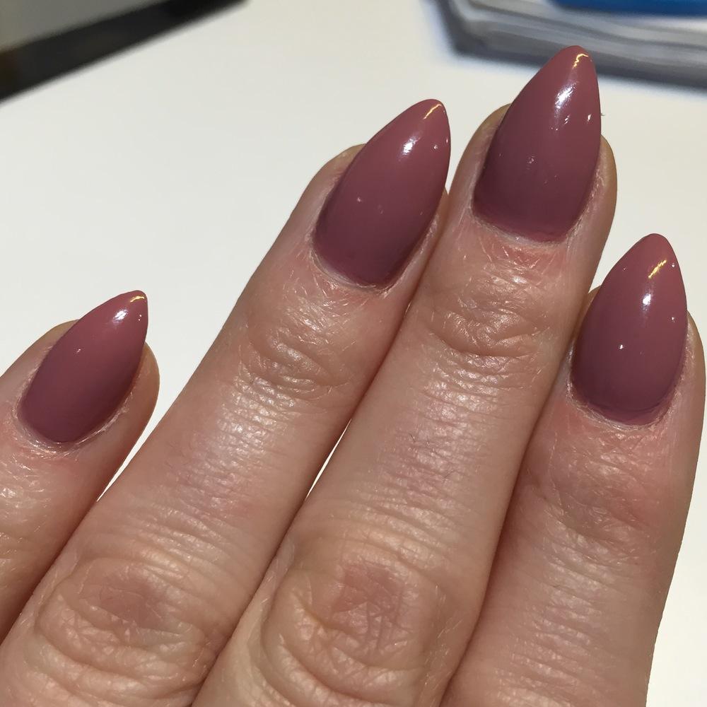 Acrylics with nail polish finish