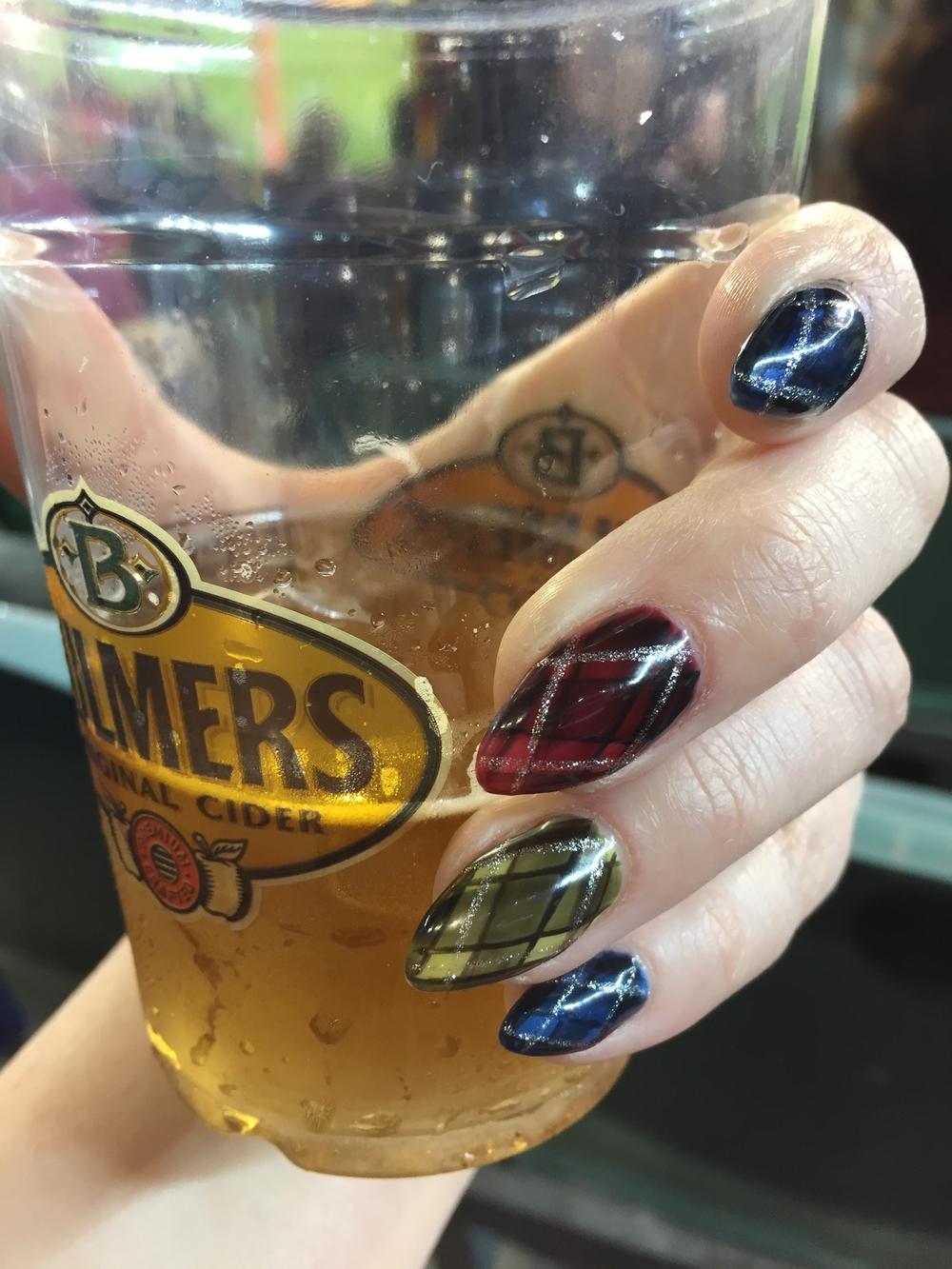 Acrylics with gel polish nail art