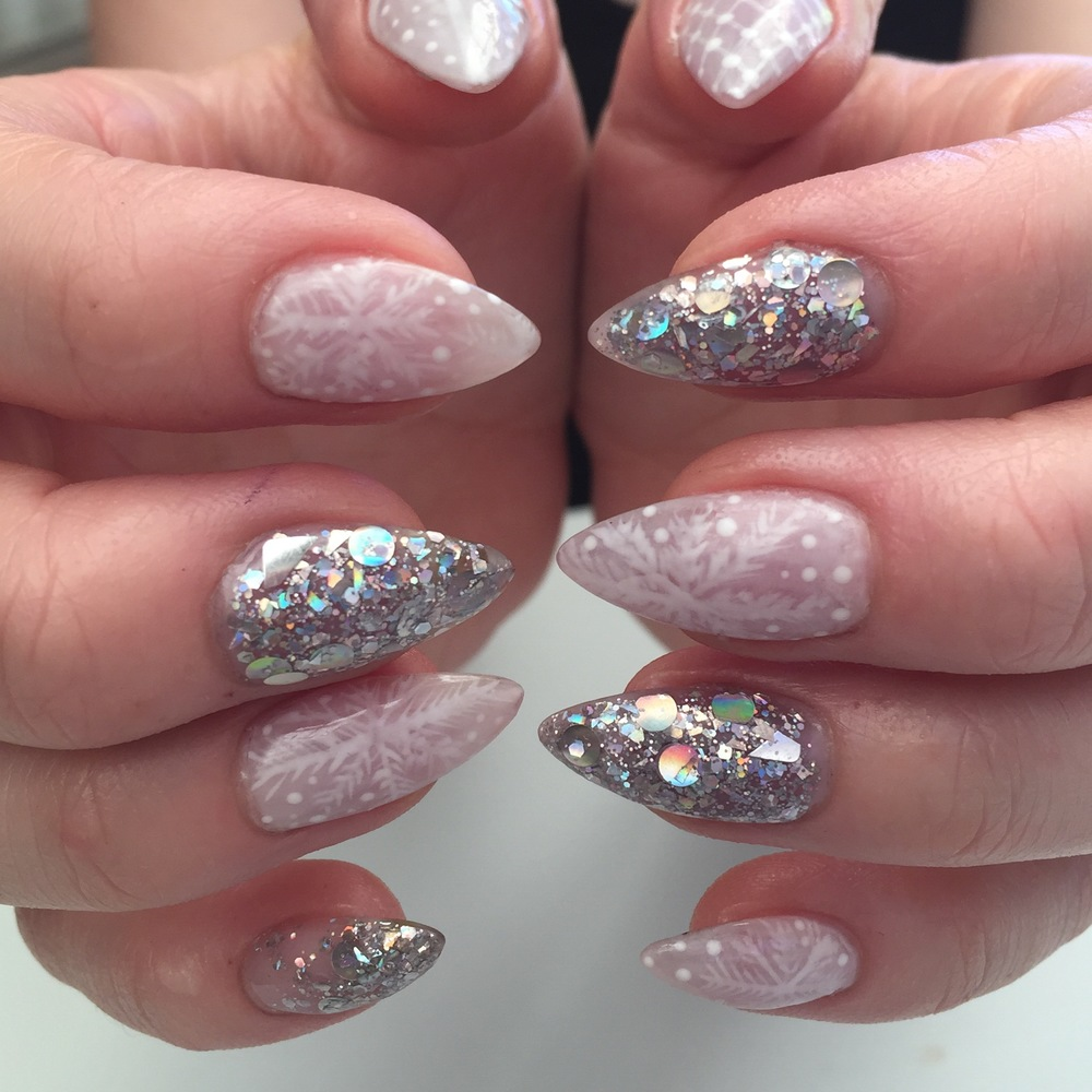Acrylics with Gel Polish nail art and Encapsulated Glitter