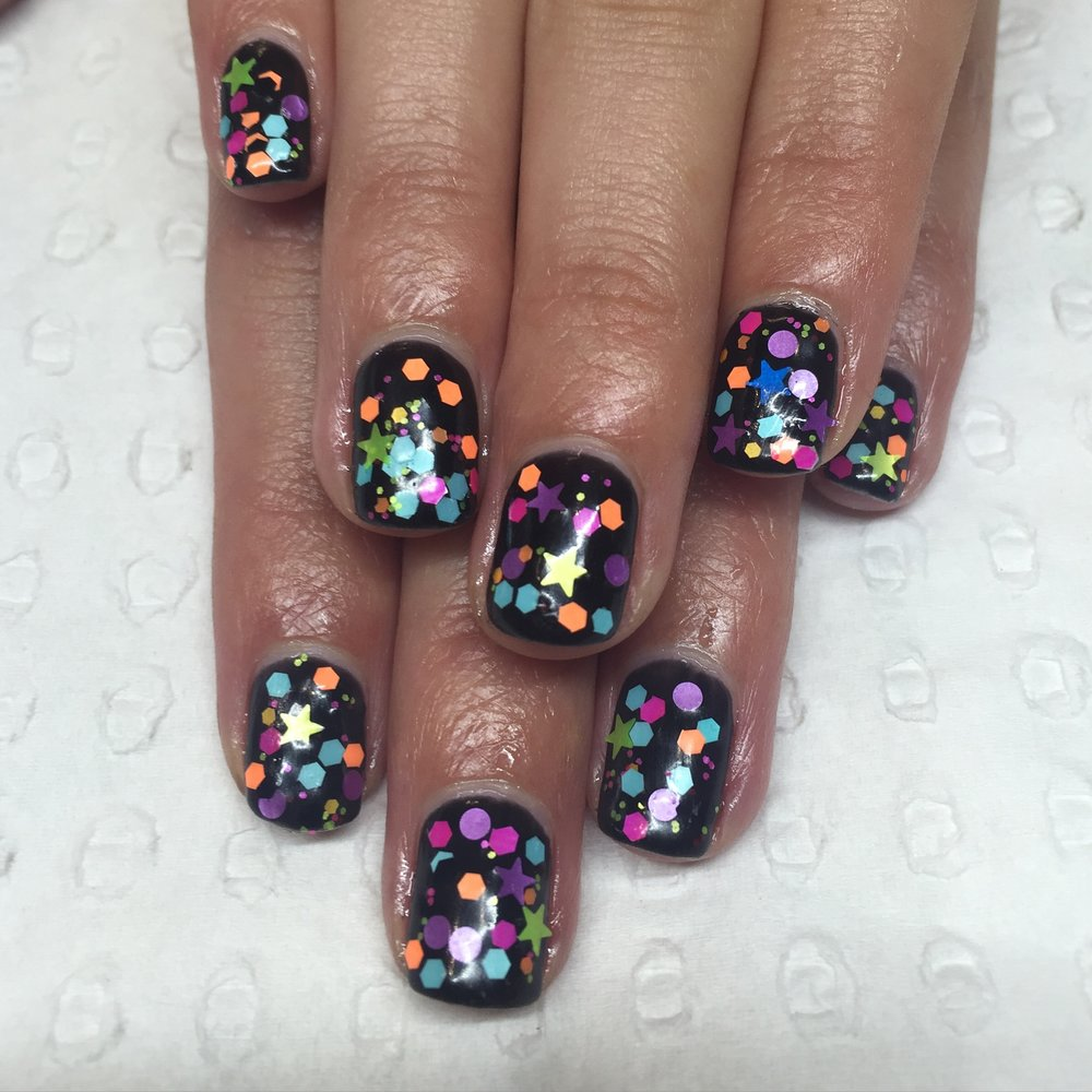 Black Gel with chunky glitter mix