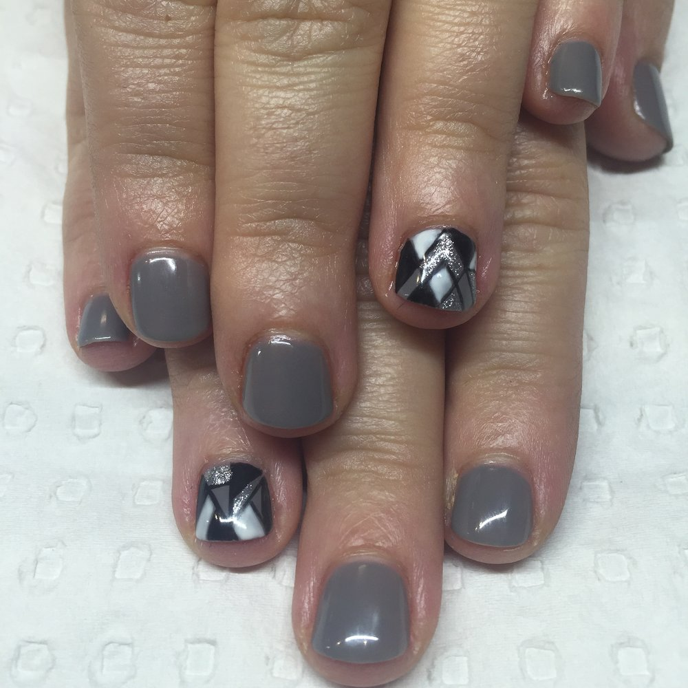 Grey Gel Polish with nail art features