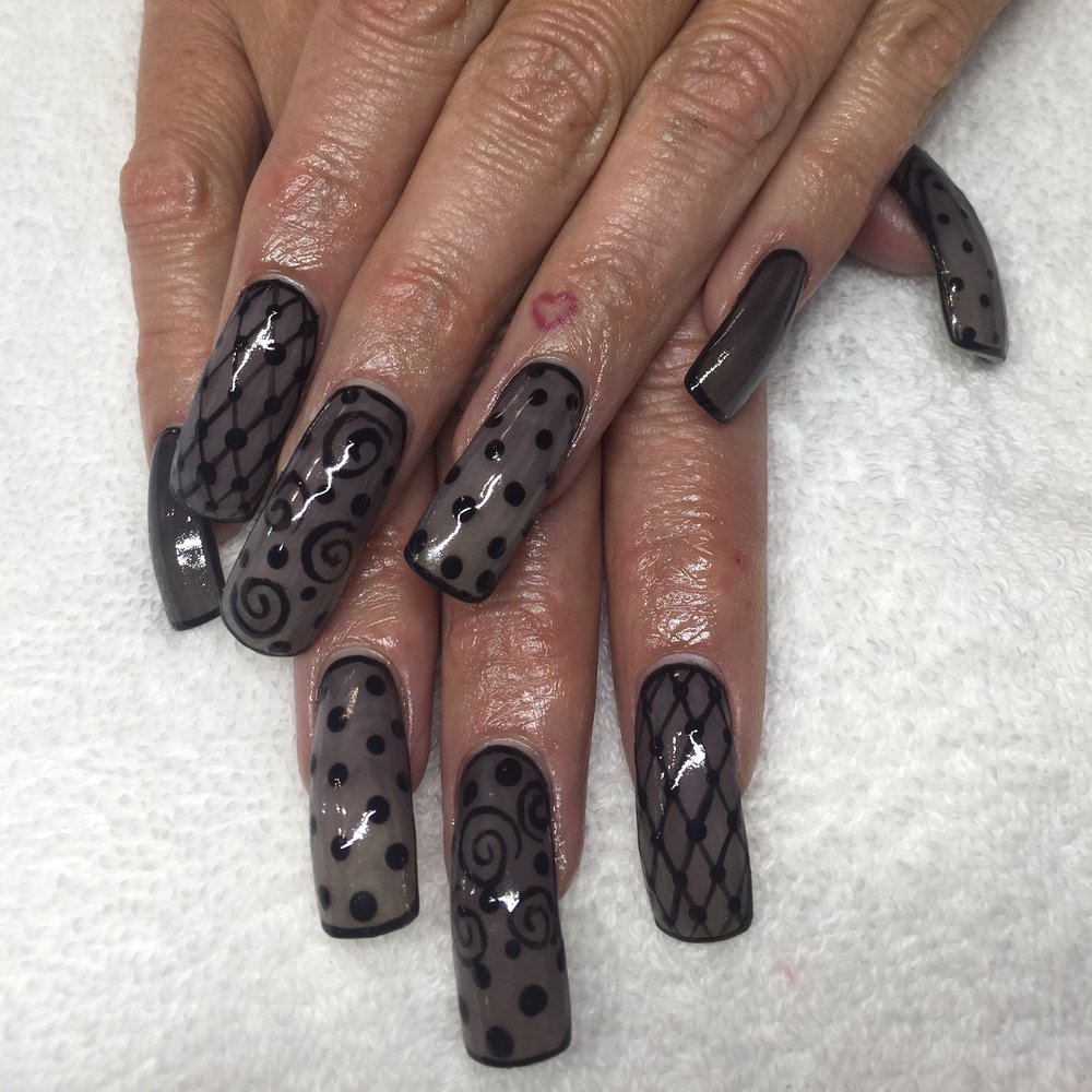 Black Sheer Nail art