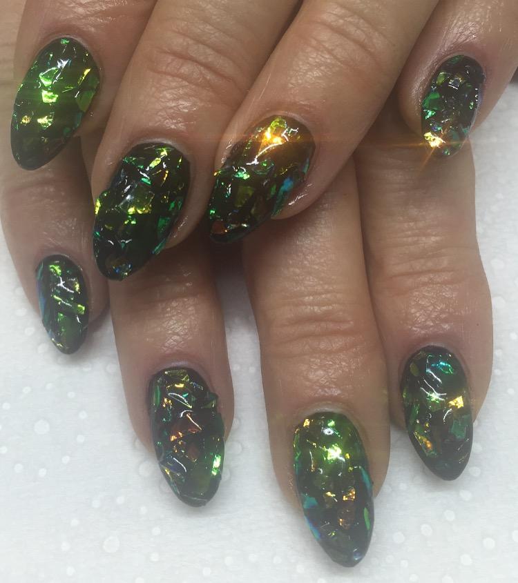 Glitter Shards nail art