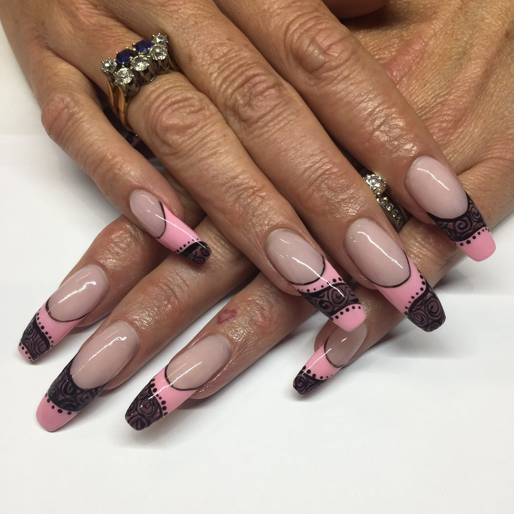 Baby Pink French tips with blackline work