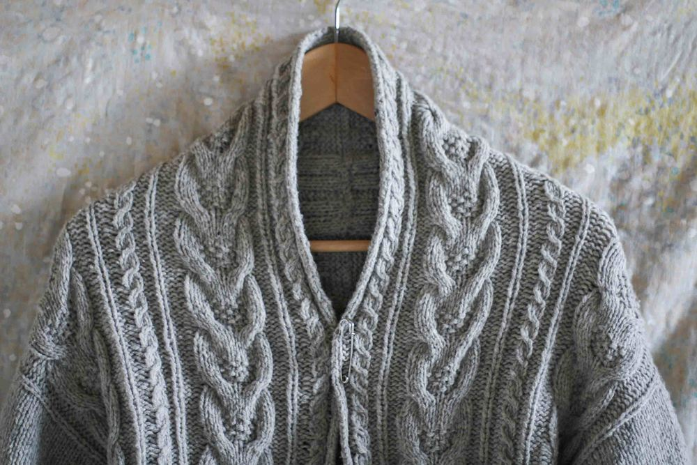 A somewhat fail - I got the size wrong! Brooklyn Tweed's Stranger Cardigan. Knitted by me.