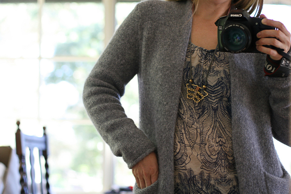 "Weird pose - I was trying to show how the shoulders fitted. I loved this cardy. The yarn was a bit ""meh"" though. Pattern is Bailey by Amy Christoffers."