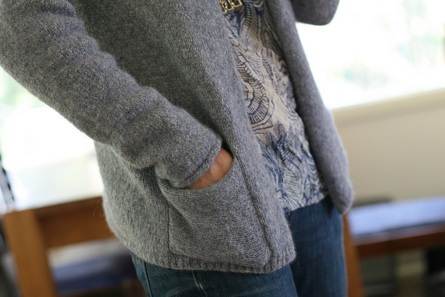 My  version  of  Bailey  can be seen on  Ravelry   here . Love the Icord sleeve finish and the pockets.