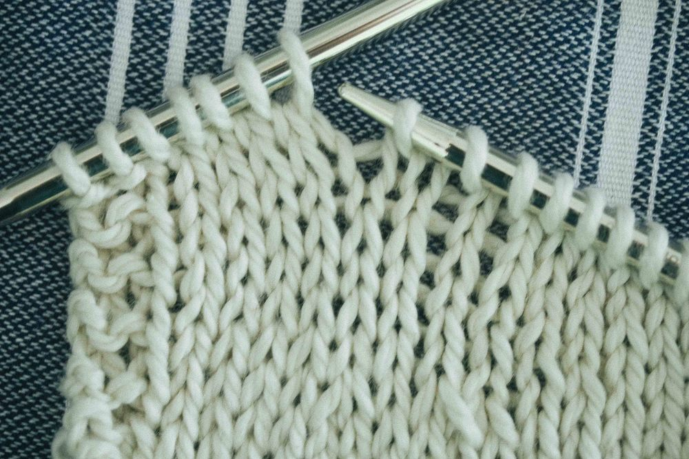 And another one - this time we are looking at the decrease below the first stitch on the left needle. This one is a k2tog and a little trickier to see. Look for two lines of stitching becoming one. One of the two stitches sits behind the other. Again the number or rows is at the end**