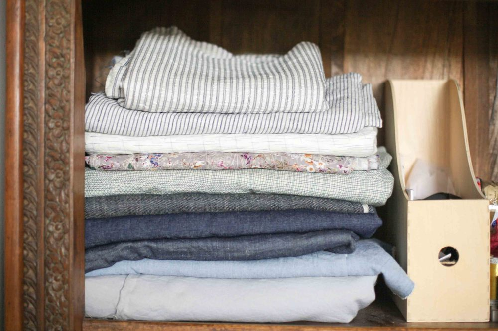 And a stack of blue linen. And some grey linen. And some stripes.
