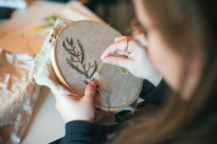 Photo of Alichia from Melissa's embroidery class at this year's retreat.