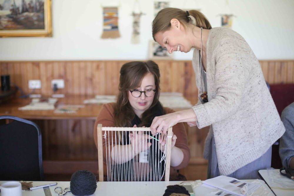 Weaving with Belinda Evans.