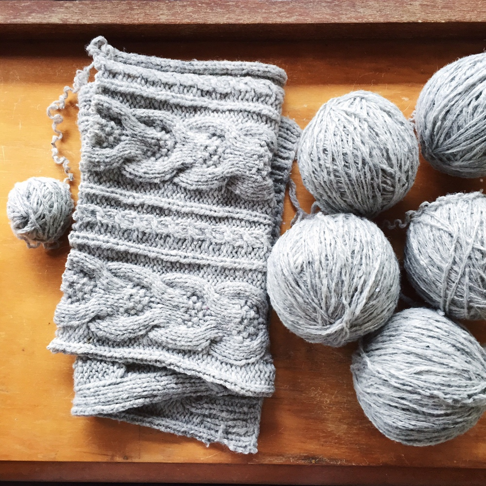 I've been shopping my own wardrobe to find yarn to harvest. It's got a bit addictive - to rip something that wasn't quite right and start the process of making it into something gorgeous. This yarn is now being turned into Keel.