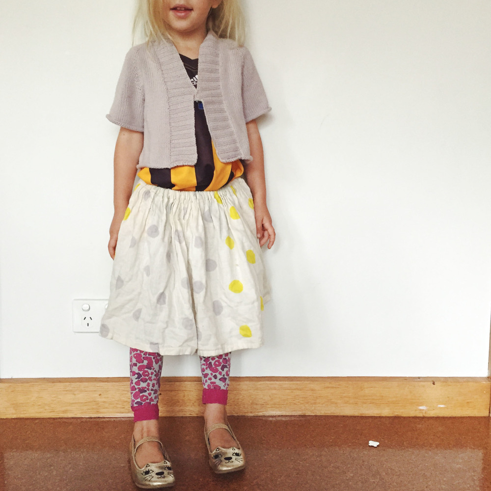 This is what my kids look like at least 50% of the time. I posted this picture on instagram one day recently when I realised that it  may   look like my girls wear handmade frocks and braided hair everyday. That said the skirt was handmade for her by her brother so maybe that is something? ;)