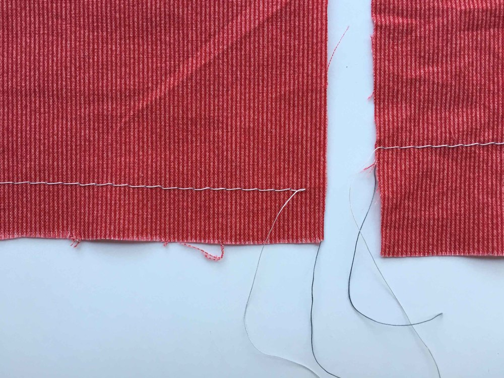The basting stitch on the left was sewed at 1.5cm and the one on the right at 2.5cm. I also do some at about 4 or 5cm - which gives a heavier hem.  Contrasting thread on the right side of the fabric.