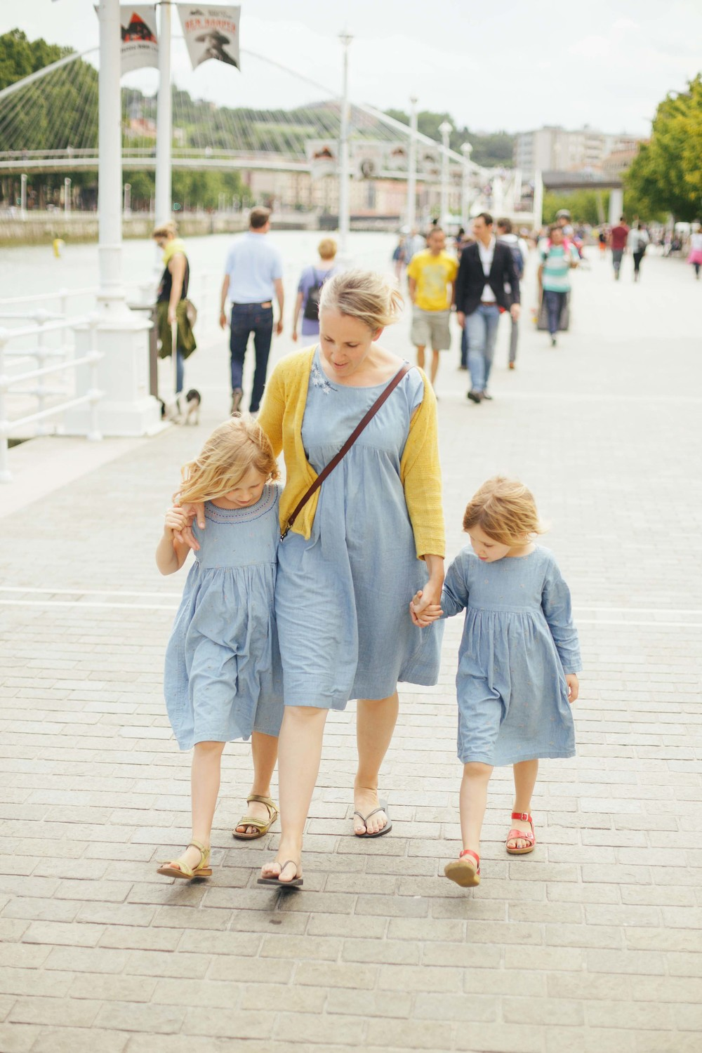 Frocks are from left to right - Purl Soho Embroidered Denim Jumper, my own and Oliver & S Playtime Dress