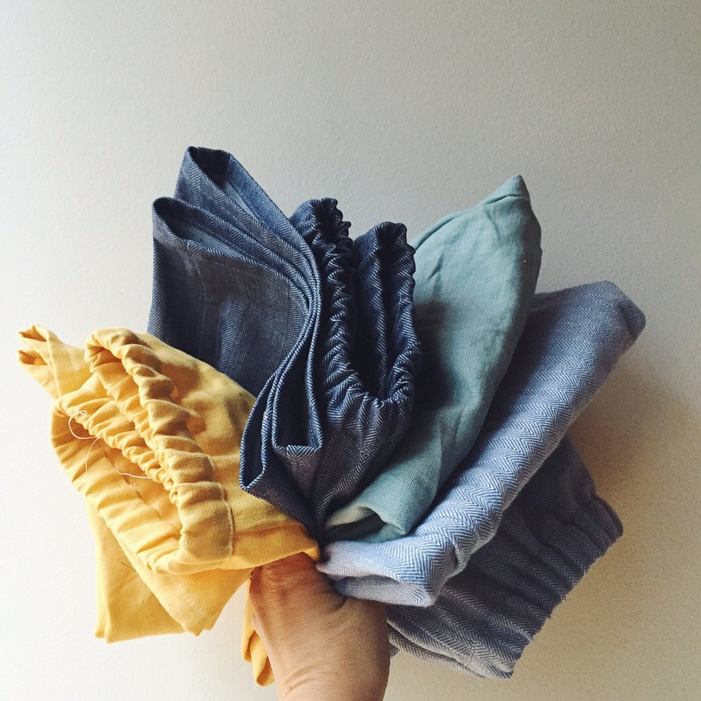 Four pairs of shorts - three made in one go (using dirty blue/grey cotton) and the yellow ones made separately using off-white cotton. Yellow ones obviously only just completed - hence the threads sticking out ;).