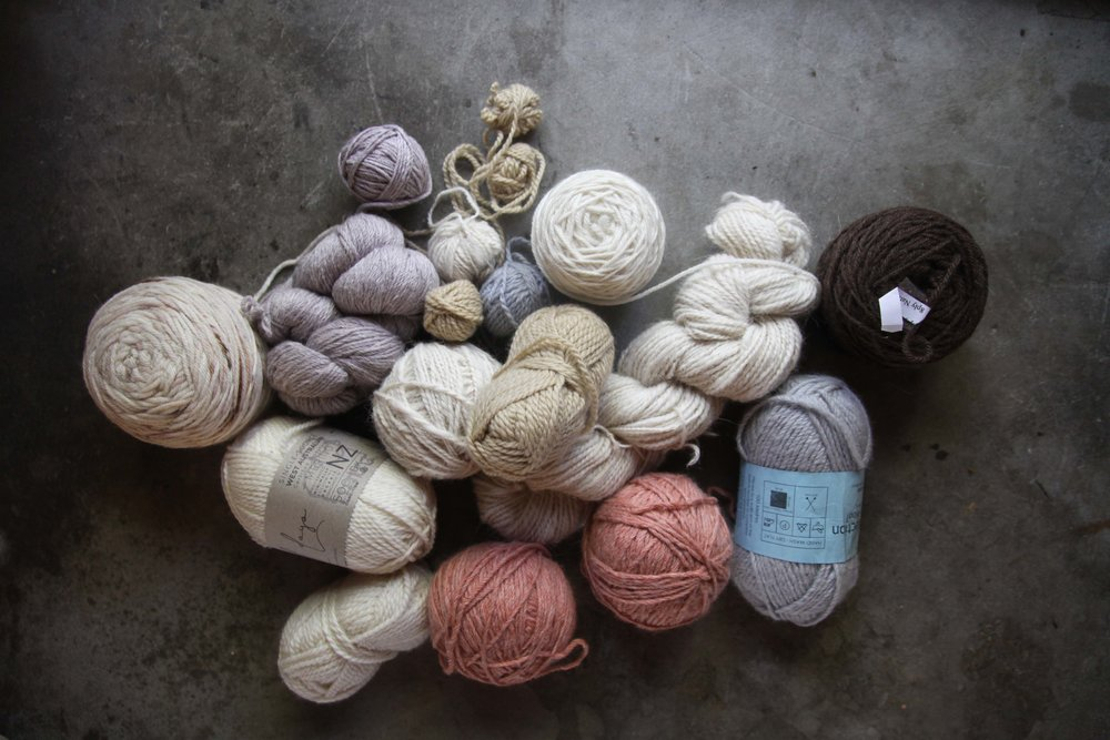My very favourite idea - These are Australian yarn scraps that go back many years. There is Pear Tree (non longer exist), Nundle, WoolDays, Tarndie, Handspun Alpaca, and WhiteGum Wool dyed by Nunnaba. The question is whether I would wear a sweater made in these colours??