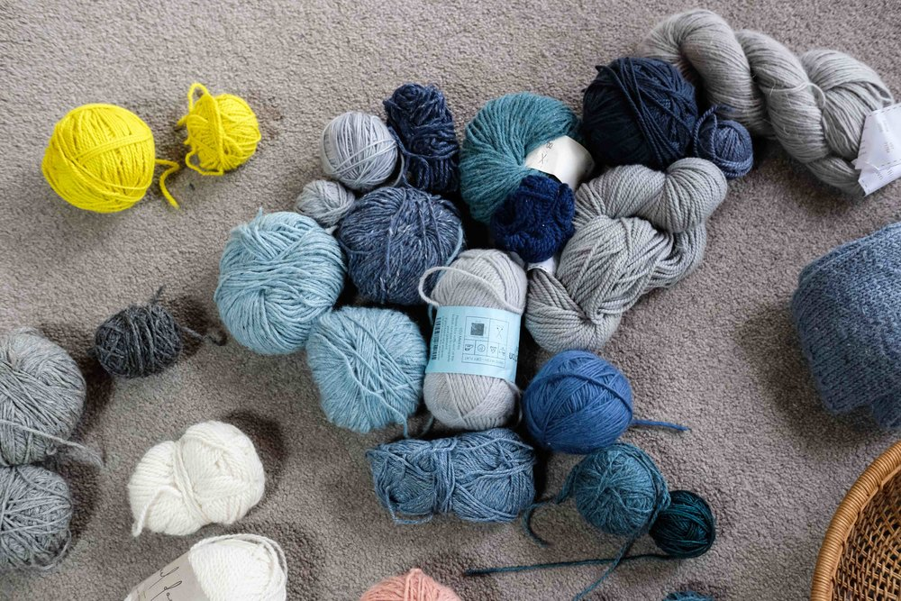 A sweater's worth of blue/grey scraps….. some of these don't go. Leaving them on the floor for a week is one of my favourite planning techniques. Over the week - I try different combinations and time helps make thing clearer.