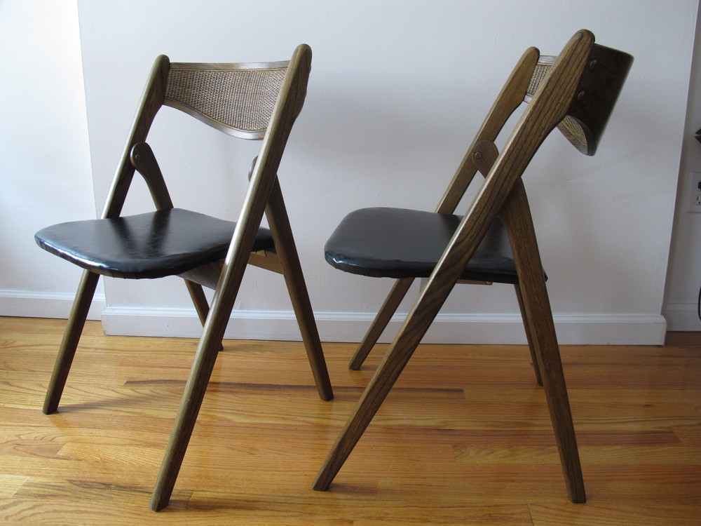 DANISH MODERN STYLE FOLDING CHAIRS BY CORONET
