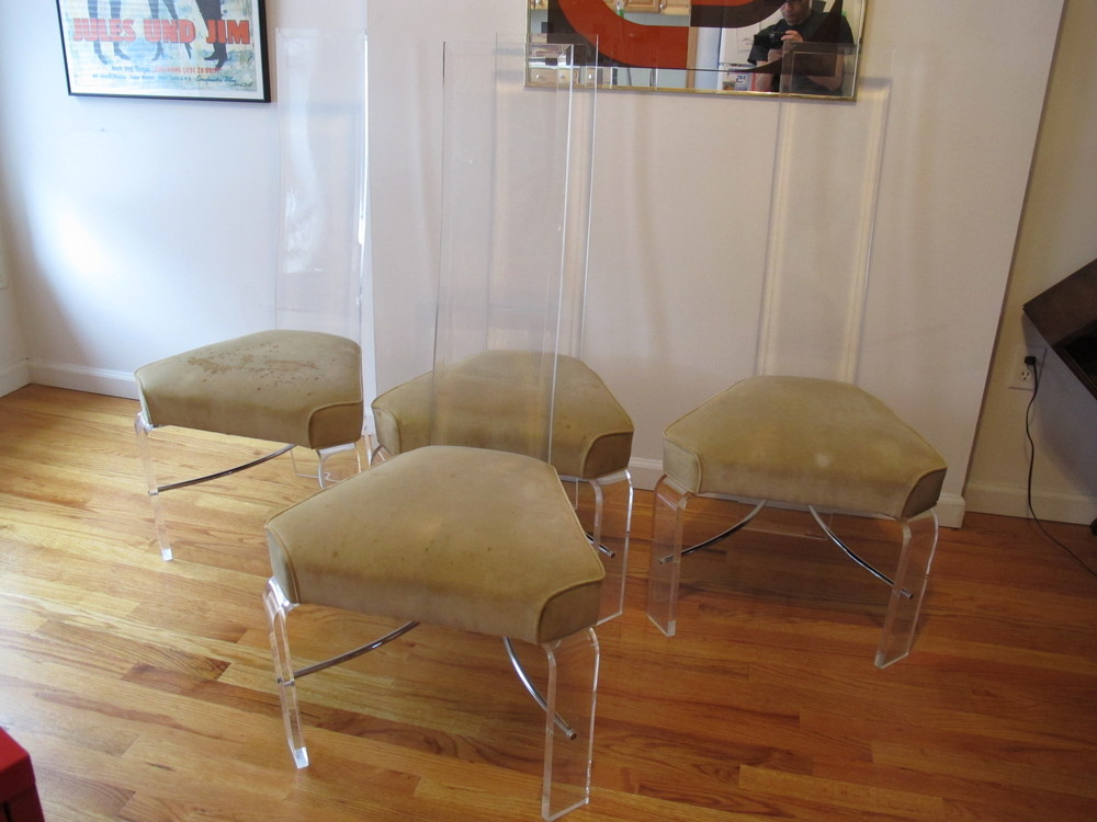 LUCITE DINING CHAIRS BY HILL MANUFACTURING