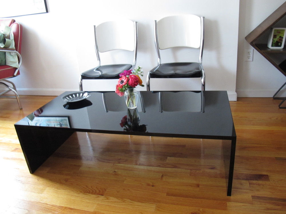 MID CENTURY BLACK ACRYLIC COFFEE TABLE