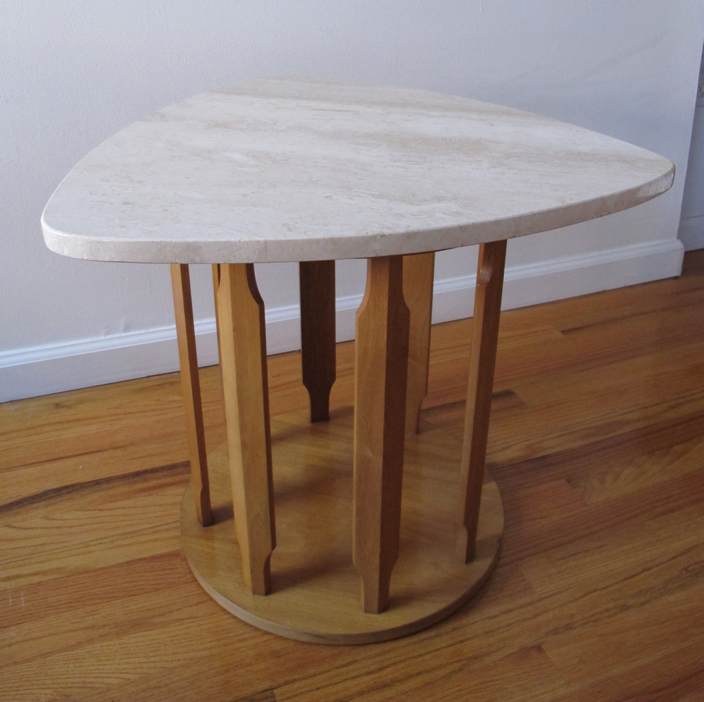 MARDEM MARBLE & ASH WOOD SIDE TABLE