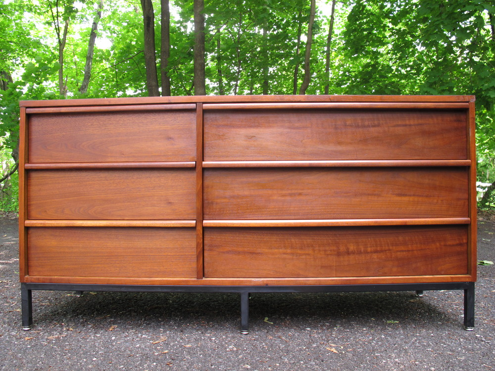 MID CENTURY WALNUT DRESSER WITH EBONIZED METAL BASE