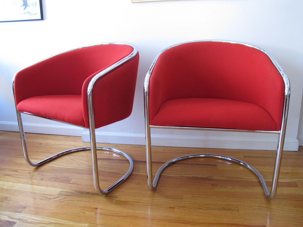 PAIR OF RED THONET CHAIRS