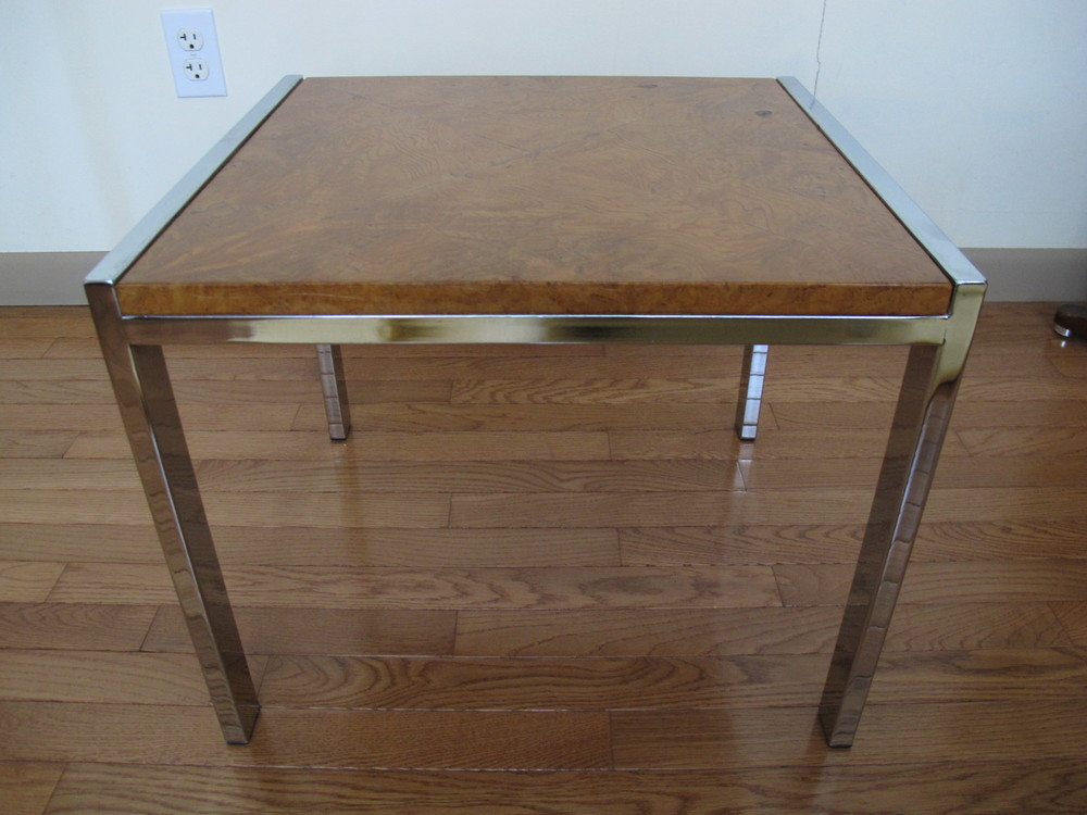 BURLWOOD & CHROME SIDE TABLE