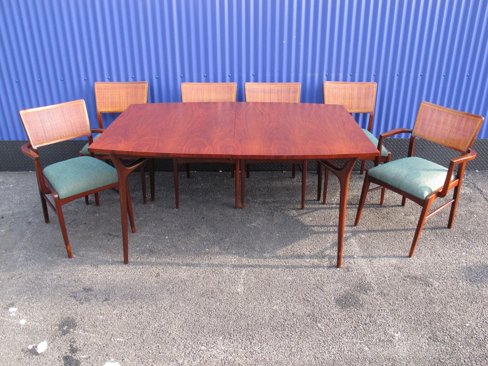 MID CENTURY DINING SET WITH CANE BACK CHAIRS