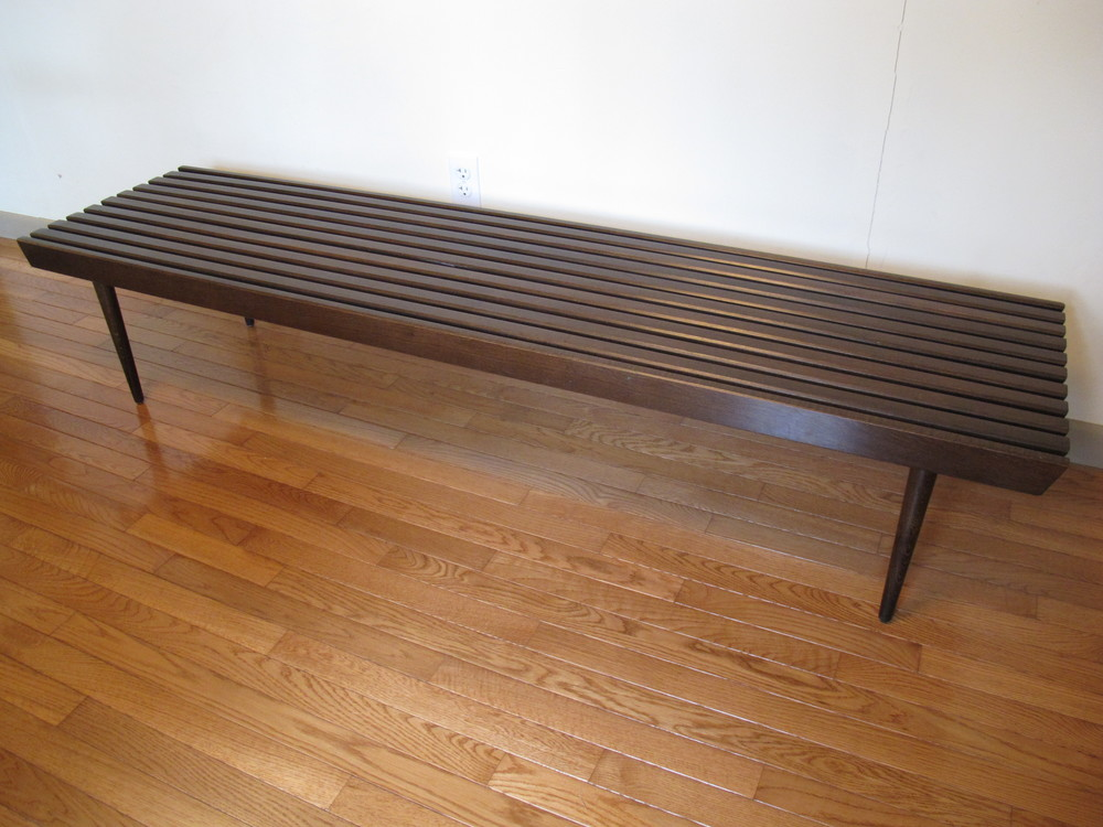 MID CENTURY WALNUT SLAT BENCH