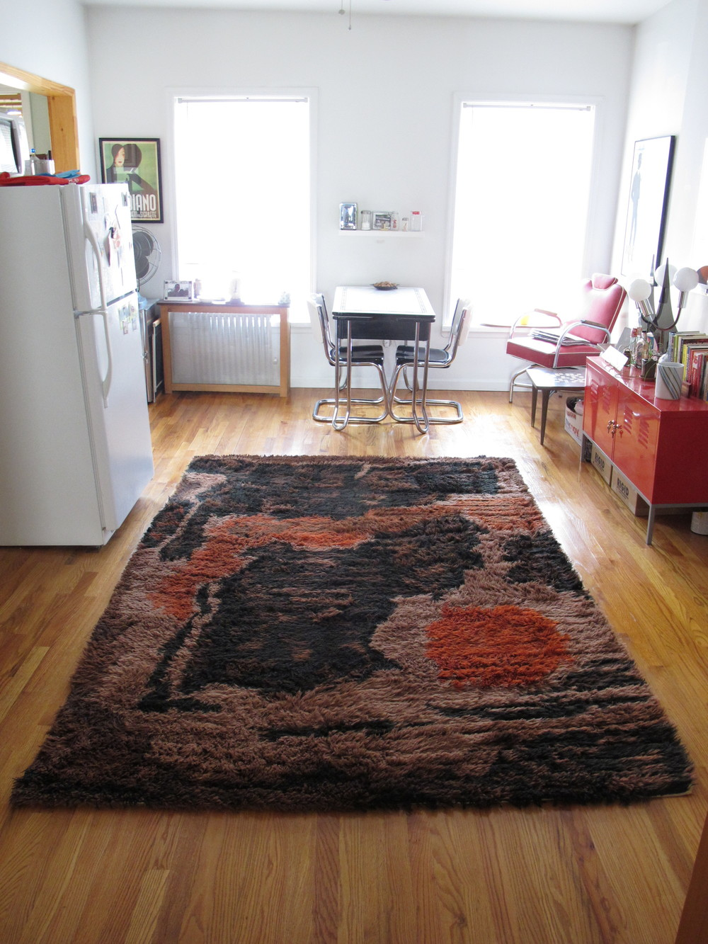 DANISH BROWN AND ORANGE RYA RUG