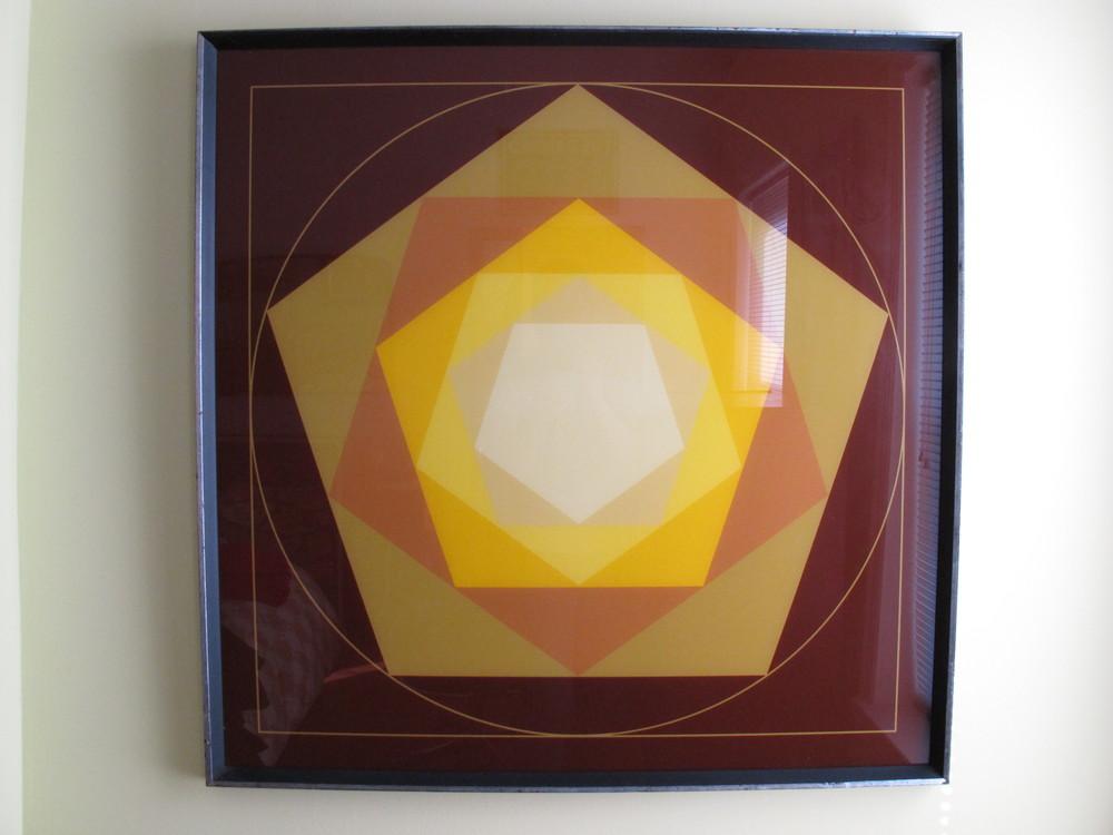 VASARELY STYLE MOD OP-ART FRAMED PRINT