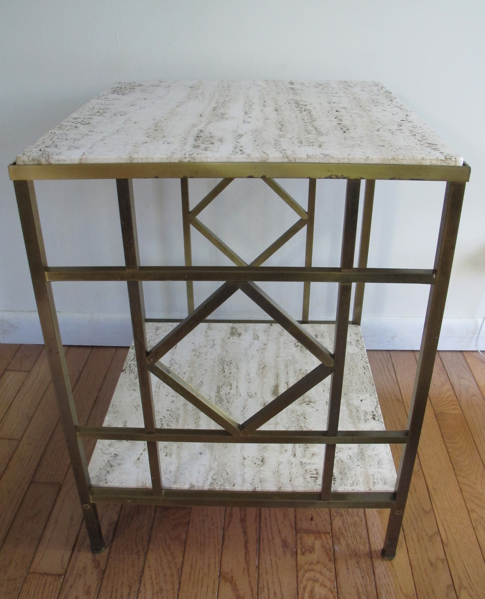 BRASS & TRAVERTINE SIDE TABLE