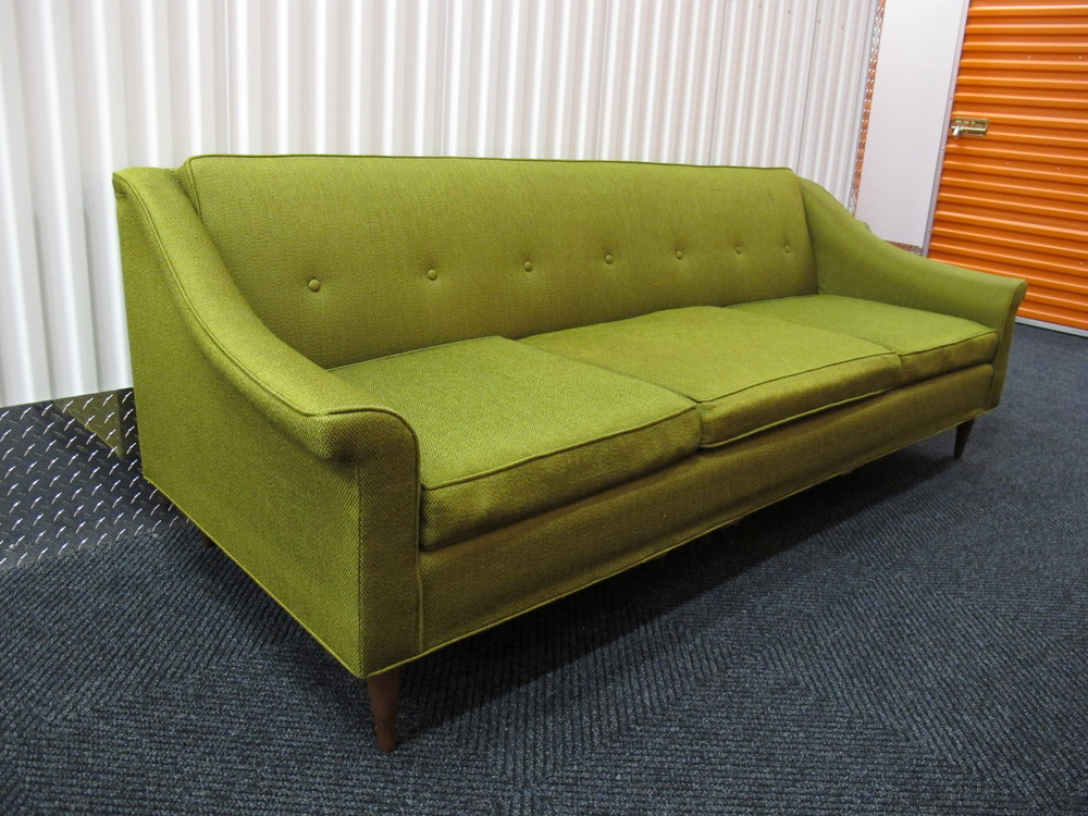 MID CENTURY BRIGHT GREEN SOFA