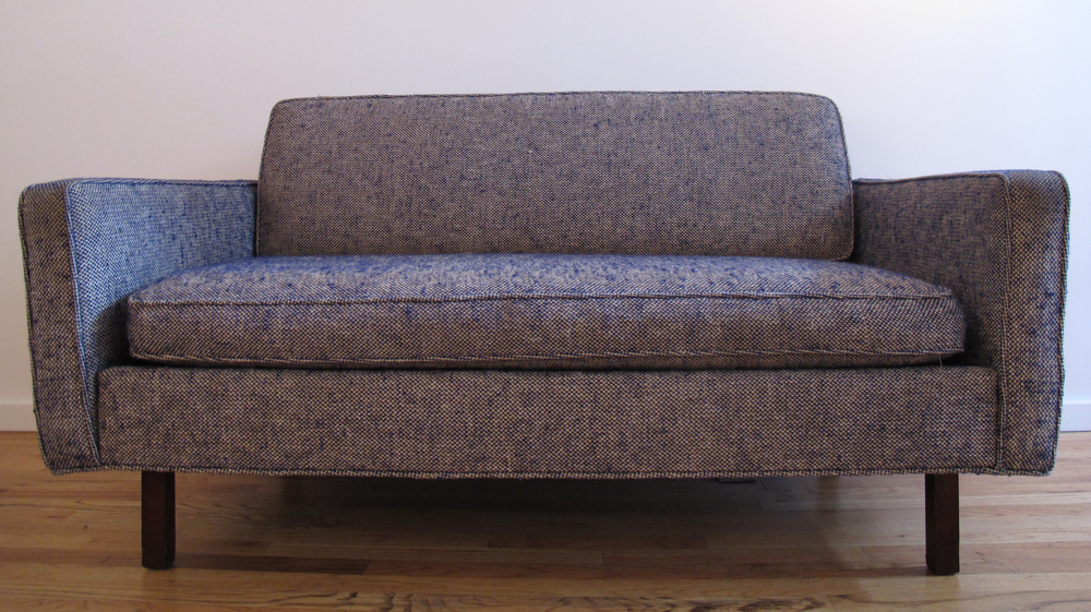MID CENTURY LOVESEAT STYLED AFTER JENS RISOM FOR KNOLL