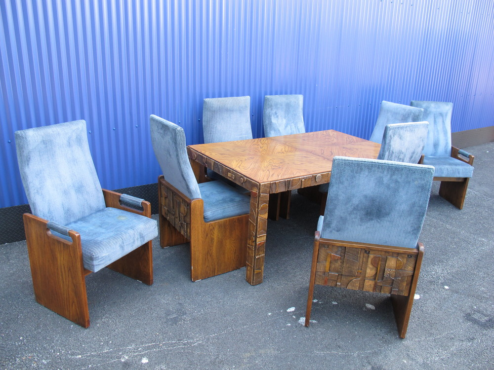 LANE BRUTALIST DINING SET AFTER ADRIAN PEARSALL