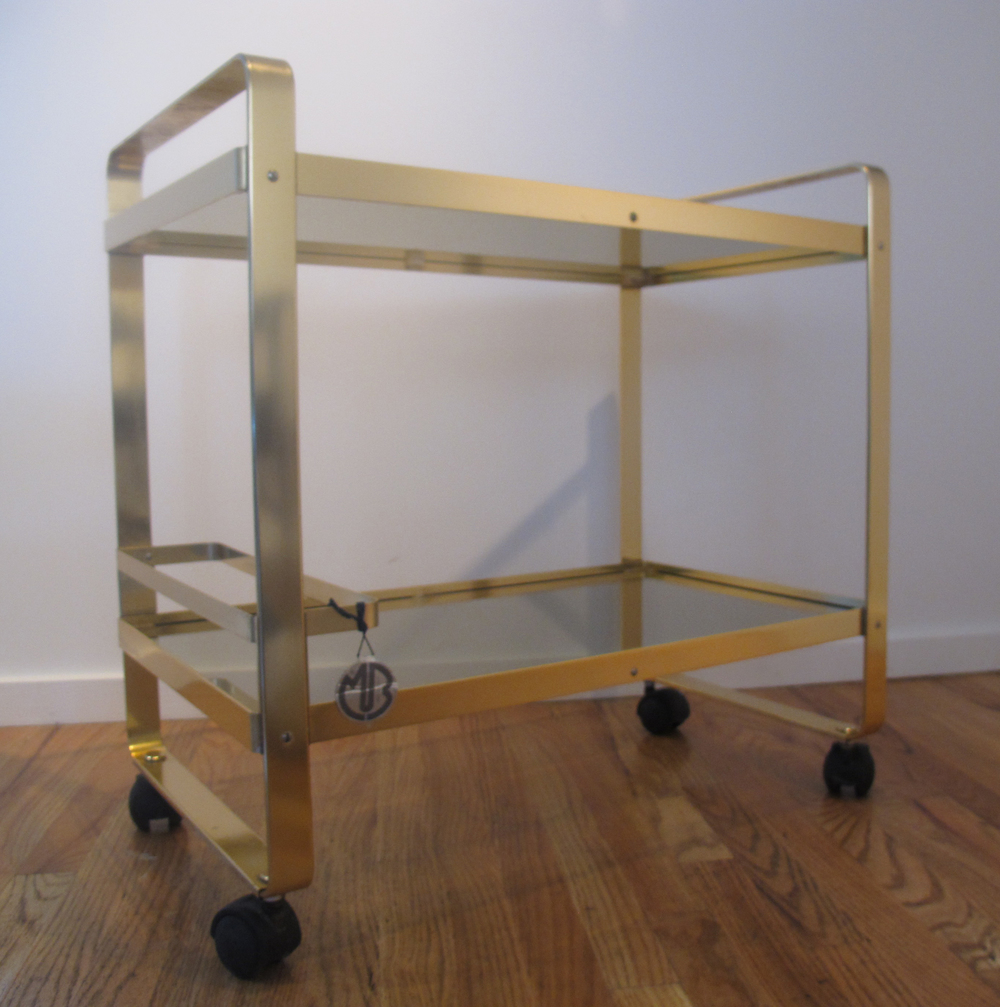 HOLLYWOOD REGENCY STYLE ITALIAN GLASS & BRASS BAR CART