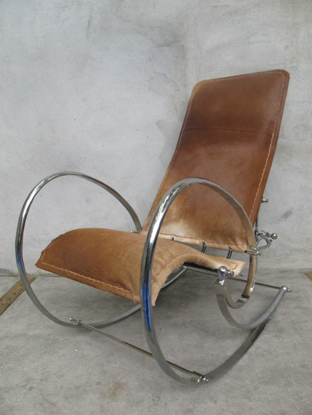 MID CENTURY COWHIDE &  CHROME ROCKING CHAIR