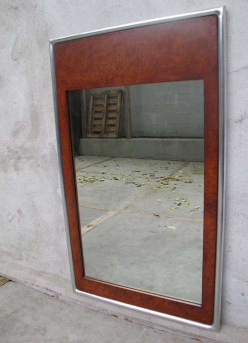MID CENTURY BURL WOOD WALL MIRROR