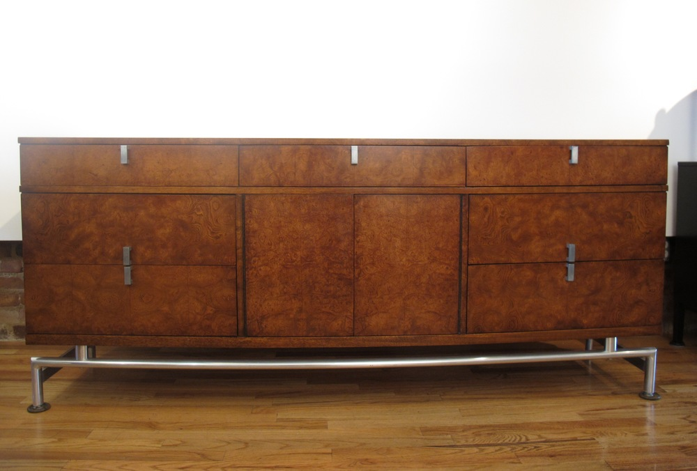 MID CENTURY BURL WOOD & WALNUT LONG DRESSER