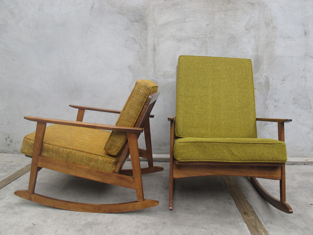PAIR OF DANISH MODERN HIS & HERS ROCKERS