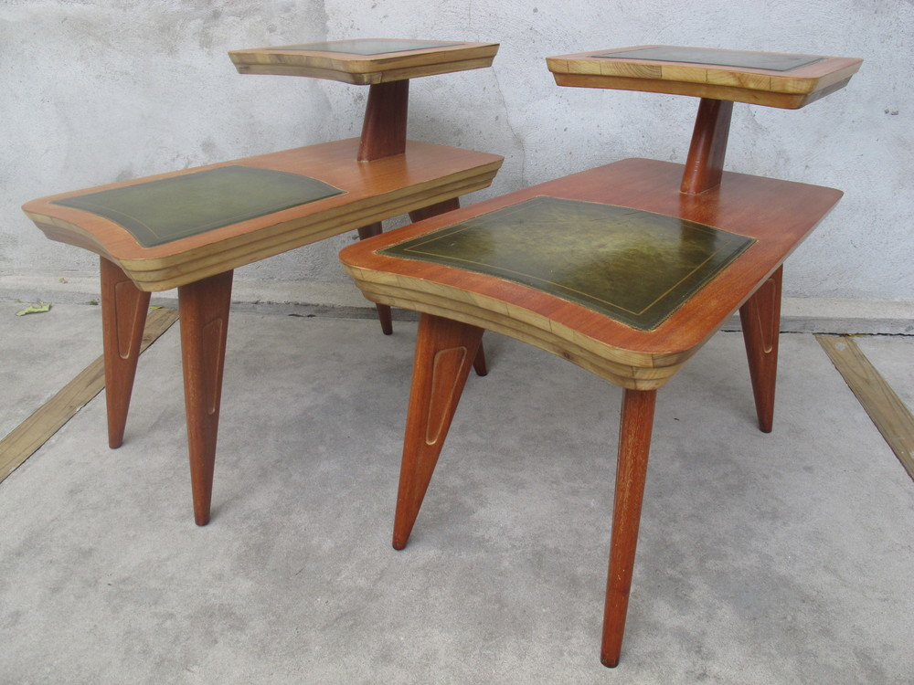PAIR OF MID CENTURY TWO TIER END TABLES WITH LEATHER INLAYS BY GORDON'S
