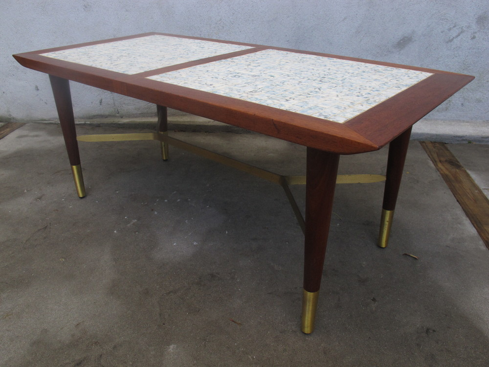 MID CENTURY WOOD, TILE, & BRASS COFFEE TABLE