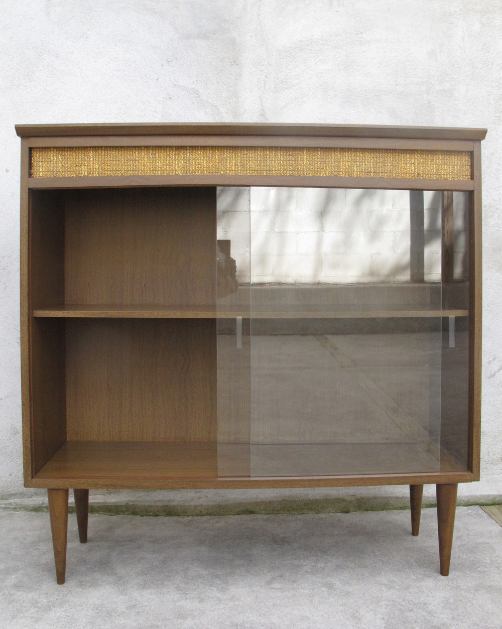 MID CENTURY CABINET WITH SLIDING GLASS DOORS
