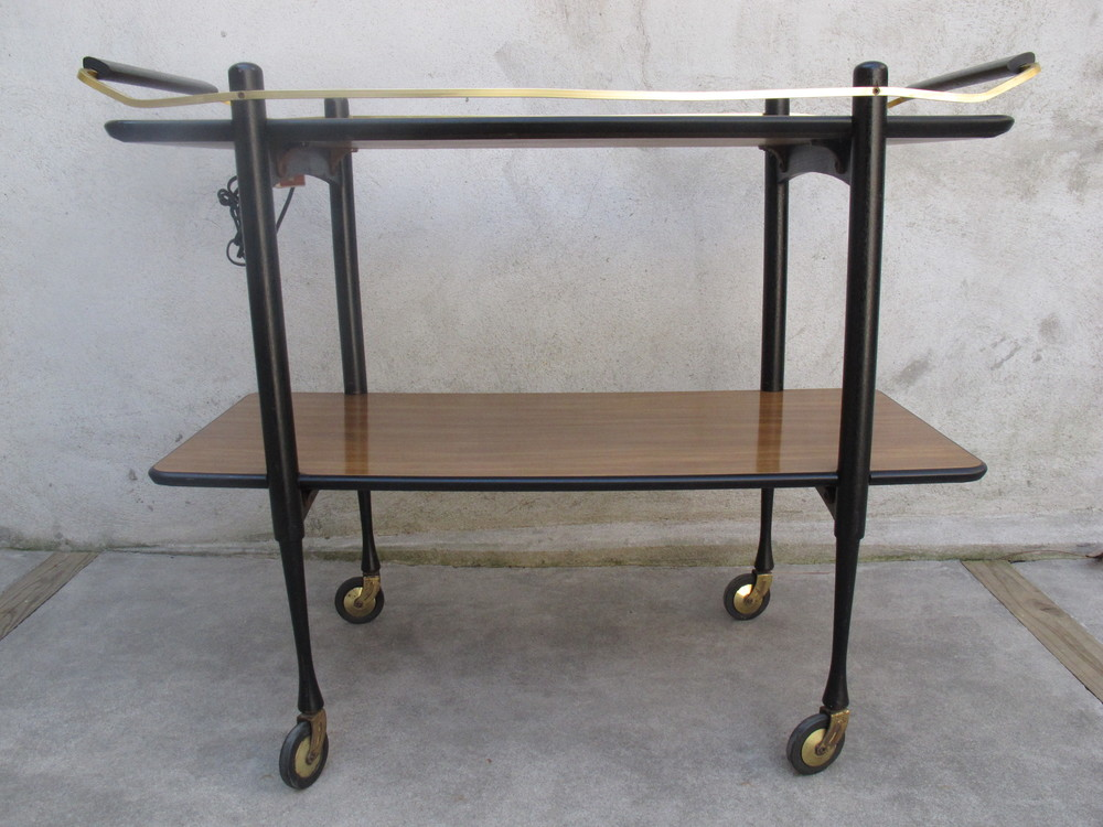 MID CENTURY BRASS & WOOD BART CART
